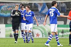13.04.2011, Veltins Arena, Gelsenkirchen, GER, UEFA CL Viertelfinale, Rueckspiel, FC Schalke 04 (GER) vs Inter Mailand (ITA), im Bild: Jubelnder Schalker nach dem Sieg. von links:  Manuel Neuer (Schalke #1), Christoph Metzelder (Schalke #21) und Benedikt Hoewedes (Schalke #4)  EXPA Pictures © 2011, PhotoCredit: EXPA/ nph/  Mueller       ****** out of GER / SWE / CRO  / BEL ******