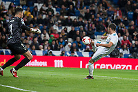 Real Madrid Lucas Vazquez and CD Numancia Munir Mohand during King's Cup match between Real Madrid and CD Numancia at Santiago Bernabeu Stadium in Madrid, Spain. January 10, 2018. (ALTERPHOTOS/Borja B.Hojas)