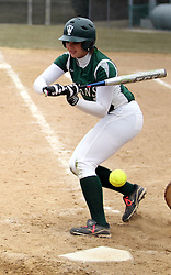 30 March 2013:  Stephanie Polich during an NCAA Division III women's softball game between the DePauw Tigers and the Illinois Wesleyan Titans in Bloomington IL