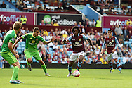 Carlos Sanchez of Aston Villa makes a break. Barclays Premier League match, Aston Villa v Sunderland at Villa Park in Birmingham, Midlands on Saturday 29th August  2015.<br /> pic by Andrew Orchard, Andrew Orchard sports photography.