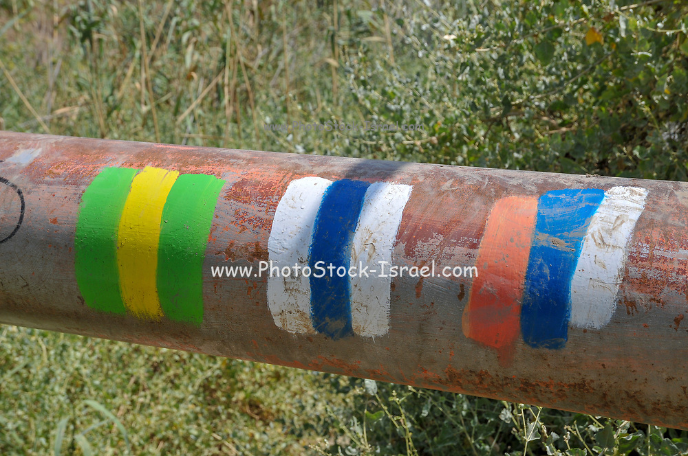 coloured markings of three nature hiking trails. Photographed in the Galilee, Israel
