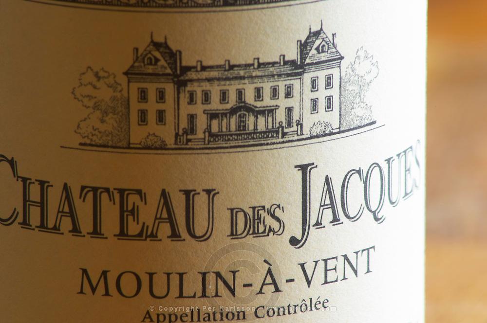 Closeup close-up of a wine bottle label Maison Louis Jadot Bourgogne Chateau des Jacques Moulin-a-Vent Beaujolais Appellation Controlee with an engraving of the chateau building, Maison Louis Jadot, Beaune Côte Cote d Or Bourgogne Burgundy Burgundian France French Europe European