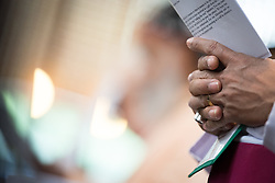 15 June 2018, Geneva, Switzerland: Opening prayer. With a densely packed agenda, the chief governing body of the WCC, the Central Committee, gathers for its biennial meeting on 15-21 June 2018. Among the chief tasks are a midterm review of the council's programmes, decisions about the venue and theme of the next WCC assembly in 2021, monitoring and evaluating the ongoing foundational work of the Pilgrimage of Justice and Peace, updates on the emerging Green Village real-estate development, reception of the new landmark study of ecumenical diakonia (the churches' service), and addressing a variety of public issues.