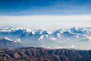 The snow capped mountains of the Peruvian Andes as viewed from an airplane on September 25, 2005.