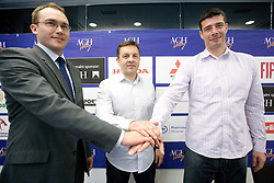 General manager of ACH Volley Rasto Oderlap with New head coach of ACH Volley Igor Kolakovic and his assistant Dragan Kobiljski at  their introduction at press conference, on May 26, 2010 in ACH, Ljubljana, Slovenia. (Photo by Vid Ponikvar / Sportida)