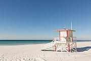 Lifeguard station on the white sand beaches in Fort Walton Beach, Florida.
