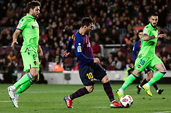 BARCELONA, Jan. 18, 2019  FC Barcelona's Lionel Messi (C) gets a chance to score.    during the Spanish King's Cup eighth final match between FC Barcelona and Lavente in Barcelona, Spain, on Jan. 17, 2019. (Credit Image: © Joan Gosa/Xinhua via ZUMA Wire)