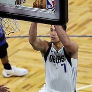 ORLANDO, FL - MARCH 01: Dwight Powell #7 of the Dallas Mavericks scores against the Orlando Magic during the second half at Amway Center on March 1, 2021 in Orlando, Florida. NOTE TO USER: User expressly acknowledges and agrees that, by downloading and or using this photograph, User is consenting to the terms and conditions of the Getty Images License Agreement. (Photo by Alex Menendez/Getty Images)*** Local Caption *** Dwight Powell