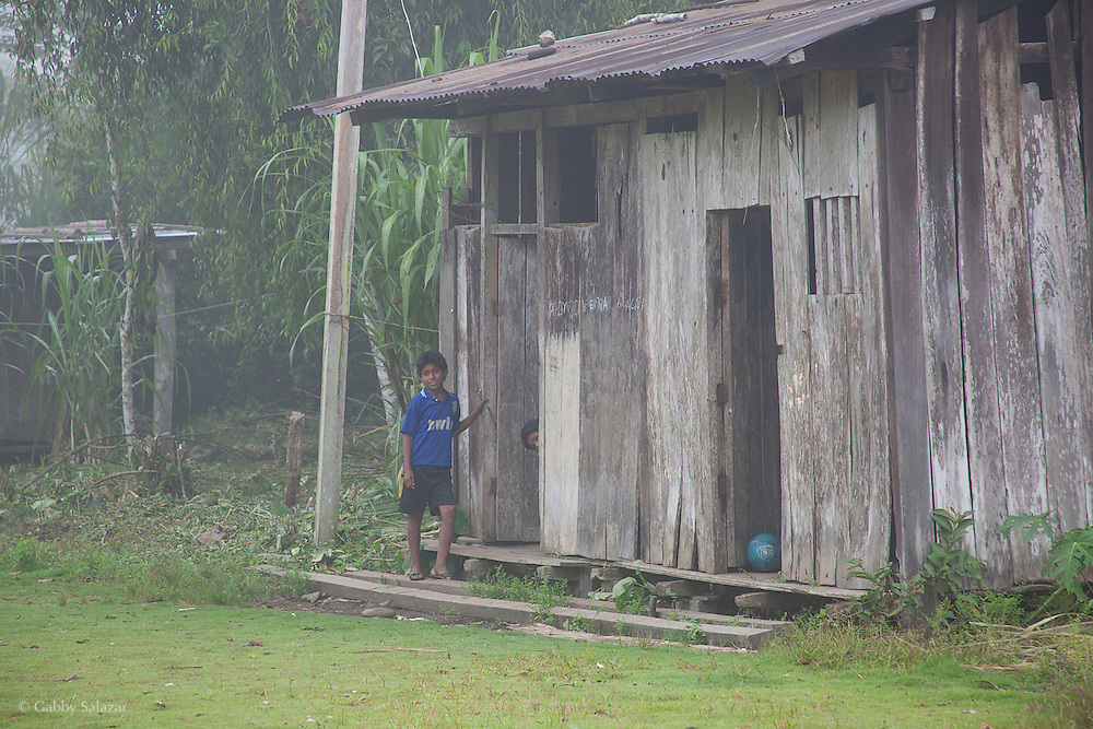 Young boys outside their house on a misty morning. Communidad Nativa de Queros near Pilcopata. The Queros Community has a community cultural tourism project and holds the title to a conservation concession of almost 7000 acres near their community. They are the first idigenous group to be granted management of a conservation concession in Peru.