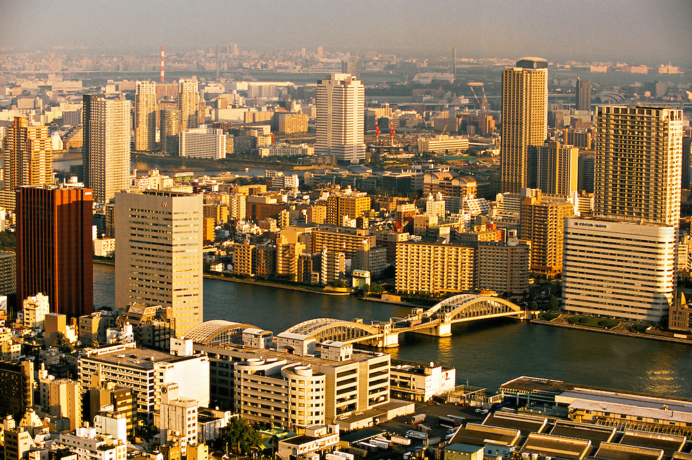 View from Shiodome toward the Sumida River (Katchidoki-bashi Bridge), Tokyo, Japan