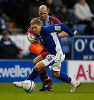Photo: Steve Bond/Richard Lane Photography. Leicester City v Scunthorpe United. Coca Cola Championship. 13/02/2010. Martyn Waghorn (front) holds off Rob Jones