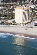 Ventura Beach and Crowne Plaza Hotel Aerial Stock Photo