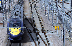 © under license to London News Pictures. 2010.12.13. High speed trains from Kent to St Pancras International have now been running for year. South Eastern trains said that 7.2 million journeys have been made on the Javelin trains since services began on 13 December 2009. The trains can reach speeds of up to 140 mph on the high speed track linking the Channel Tunnel with London. Picture credit should read Grant Falvey/London News Pictures