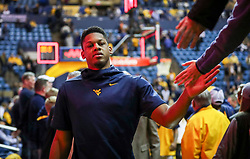 Mar 6, 2019; Morgantown, WV, USA; West Virginia Mountaineers forward Sagaba Konate (50) celebrates with fans after beating the Iowa State Cyclones at WVU Coliseum. Mandatory Credit: Ben Queen-USA TODAY Sports