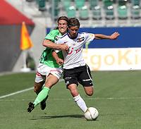 St. Gallen, 8. Mai 2011, Fussball Super League, FC St. Gallen - FC Zuerich, Michael Lang (l. FCSG) gegen Dusan Djuric (FCZ). (Marc Schumacher/EQ Images)