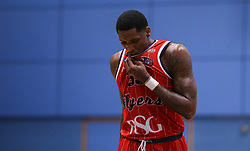 Fred Thomas of Bristol Flyers agonises over a missed free throw - Photo mandatory by-line: Arron Gent/JMP - 28/04/2019 - BASKETBALL - Surrey Sports Park - Guildford, England - Surrey Scorchers v Bristol Flyers - British Basketball League Championship