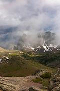 Warbonnet Peak and the Warrior, The Cirque of the Towers, from just below Texas Pass on Skunk Knob in the Wind River Range, mountains in the Shoshone National Forest, Fremont County, Wyoming, USA.