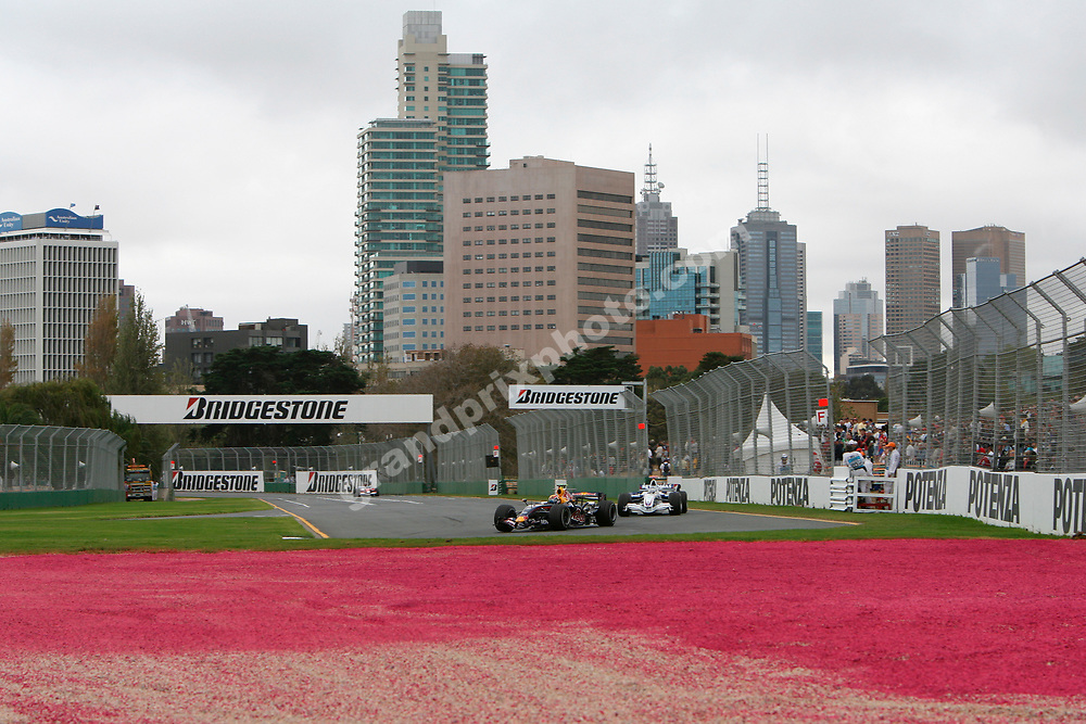 Mark Webber (Red Bull-Renault) leads Nick Heidfeld (BMW) during Friday practice for the 2007 Australian Grand Prix in Melbourne. Photo: Grand Prix Photo