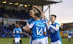 Jonson Clarke-Harris of Peterborough United celebrates scoring the opening goal with team-mates - Mandatory by-line: Joe Dent/JMP - 12/12/2020 - FOOTBALL - Weston Homes Stadium - Peterborough, England - Peterborough United v Rochdale - Sky Bet League One