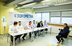 """Press conference of handball event named """"Rokometna simfonija"""" in honour of retirement of best Slovenian handball players Uros Zorman and Luka Zvizej, on April 14, 2019, in Arena Zlatorog, Celje, Slovenia. Photo by Vid Ponikvar / Sportida"""