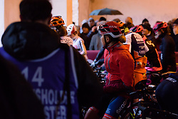 Cecilie Uttrup Ludwig shelters from the rain at Strade Bianche - Elite Women 2018 - a 136 km road race on March 3, 2018, starting and finishing in Siena, Italy. (Photo by Sean Robinson/Velofocus.com)