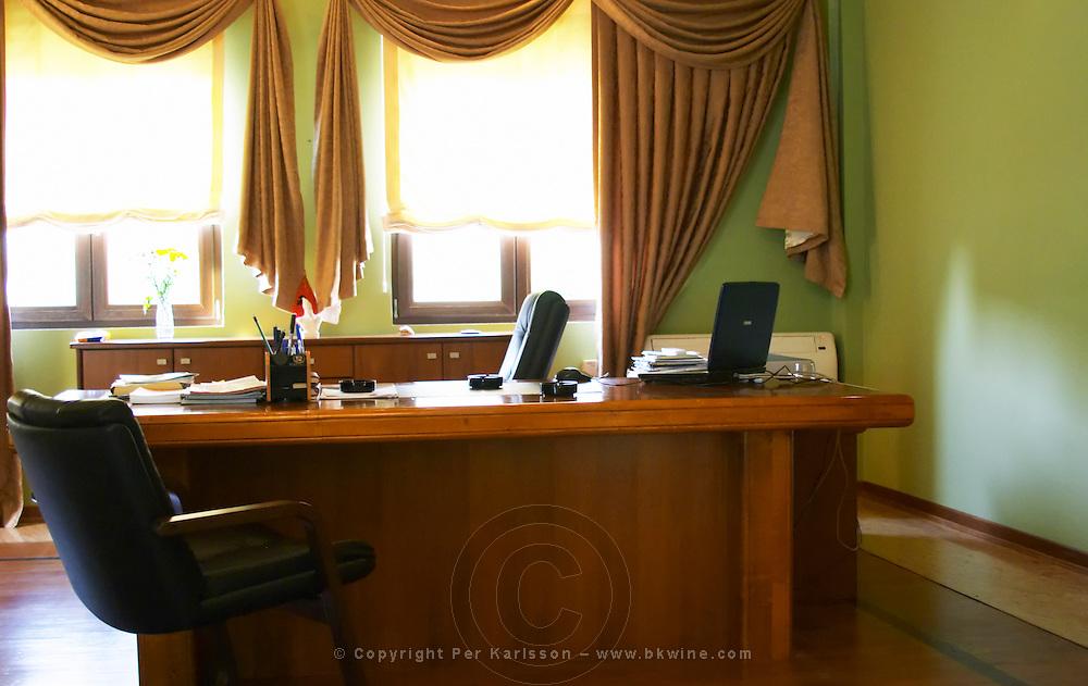 The office of the manager. Kantina e Pijeve Gjergj Kastrioti Skenderbeu Skanderbeg winery, Durres. Albania, Balkan, Europe.