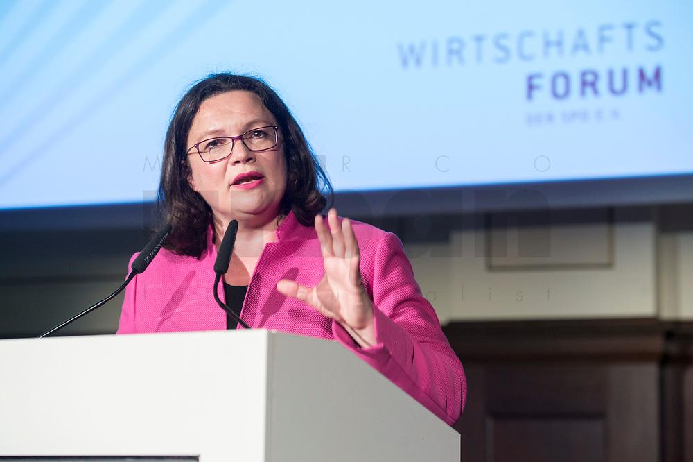 07 JUN 2018, BERLIN/GERMANY:<br /> Andrea Nahles, SPD, Fraktions- und Parteivorsitzende, haelt eine Rede auf dem Parlamentarischen Abend des SPD WIrtschaftsforums, Meistersaal<br /> IMAGE: 20180607-01-183