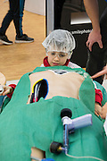 27/11/2016 REPRO FREE:   <br />   Cillian Urroz (9)  from Galway enjoy the Medtronic Exhibition inNUI Galway as part of the Galway Science & Technology Festival.   Photo: Andrew Downes, Xposure.