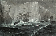 The 'Erebus' and the 'Terror' Among Icebergs. Sir John Franklin (1786-1847) British naval officer and arctic explorer commanded the 1845 expedition of the ships 'Erebus' and 'Terror'  to search for the North West Passage. All members of the expedition perished. Chromoxylograph from 'The Polar World' by G Hartwig (London, 1874).