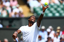 July 6, 2018 - London, ENG, U.S. - LONDON, ENGLAND - JULY 06: GAEL MONFILS (FRA) during day five match of the 2018 Wimbledon Championships on July 6, 2018, at All England Lawn Tennis and Croquet Club in London, England. (Photo by Chaz Niell/Icon Sportswire) (Credit Image: © Chaz Niell/Icon SMI via ZUMA Press)