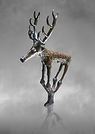 Bronze Age Hattian ceremonial deer statuette in bronze from a possible Bronze Age Royal grave (2500 BC to 2250 BC) - Alacahoyuk - Museum of Anatolian Civilisations, Ankara, Turkey .<br /> <br /> If you prefer to buy from our ALAMY PHOTO LIBRARY  Collection visit : https://www.alamy.com/portfolio/paul-williams-funkystock/royal-tombs-alaca-hoyuk-bronze-age.html (TIP refine search by adding background colour in the LOWER search box)<br /> <br /> Visit our ANCIENT WORLD PHOTO COLLECTIONS for more photos to download or buy as wall art prints https://funkystock.photoshelter.com/gallery-collection/Ancient-World-Art-Antiquities-Historic-Sites-Pictures-Images-of/C00006u26yqSkDOM