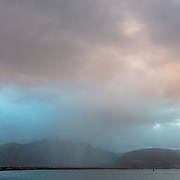 First light above Ben Nevis and Fort William, Highland, Scotland.