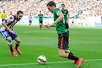 Atletico de Madrid´s Juanfran and Athletic Club´s Oscar de Marcos during 2014-15 La Liga match between Atletico de Madrid and Athletic Club at Vicente Calderon stadium in Madrid, Spain. May 02, 2015. (ALTERPHOTOS/Luis Fernandez)