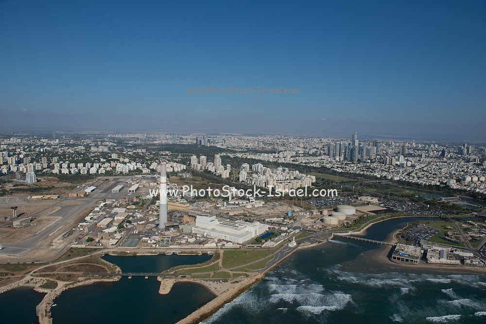 Aerial Photography of Tel Aviv, Israel The flue of the Reading power plant can be seen