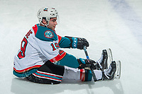 KELOWNA, CANADA - JANUARY 17: Dillon Dube #19 of the Kelowna Rockets stretches on the ice during warm up against the Lethbridge Hurricanes on January 17, 2018 at Prospera Place in Kelowna, British Columbia, Canada.  (Photo by Marissa Baecker/Shoot the Breeze)  *** Local Caption ***