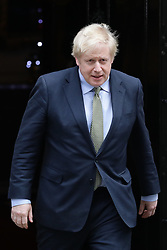 © Licensed to London News Pictures. 13/12/2019. London, UK. Prime Minister Boris Johnson leaves 10 Downing Street on his way to Buckingham Palace to meet with the Queen. The Conservatives have won a majority in the 2019 General Election. Photo credit: Rob Pinney/LNP