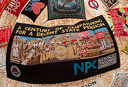 © Licensed to London News Pictures. 22/08/2015. Weston-super-Mare, North Somerset, UK.  Display of banners at the first main day of BANKSY's Dismaland show at the old Tropicana on Weston seafront, when the event is open to the general public. Photo credit : Simon Chapman/LNP