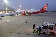 Berlin, Germany. Air Berlin Airbus A320 at Tempelhof Airport.