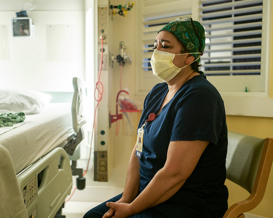 """Nurse Sandra Martinez speaks about the COVID-19 pandemic at Salinas Valley Memorial Hospital in Salinas, Calif. on Jan. 14, 2021. """"I ask myself, why is this affecting me so much? I've seen hundreds of death in 27 years. I think because there is no break, no end in sight."""""""