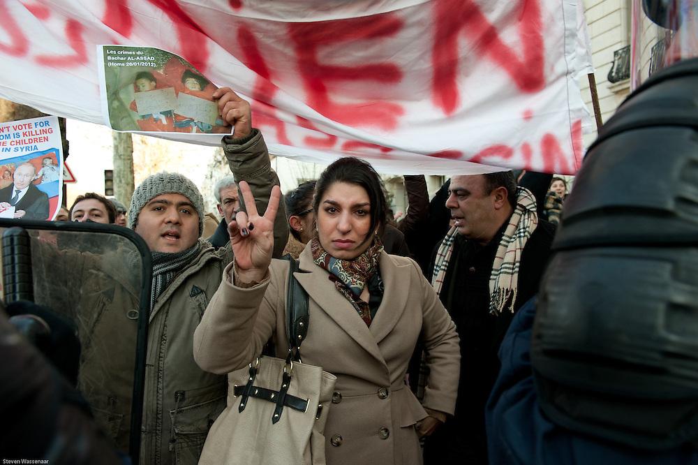 Anti Bachar Al Assad demonstators before Russian Ambassy, Paris, France.