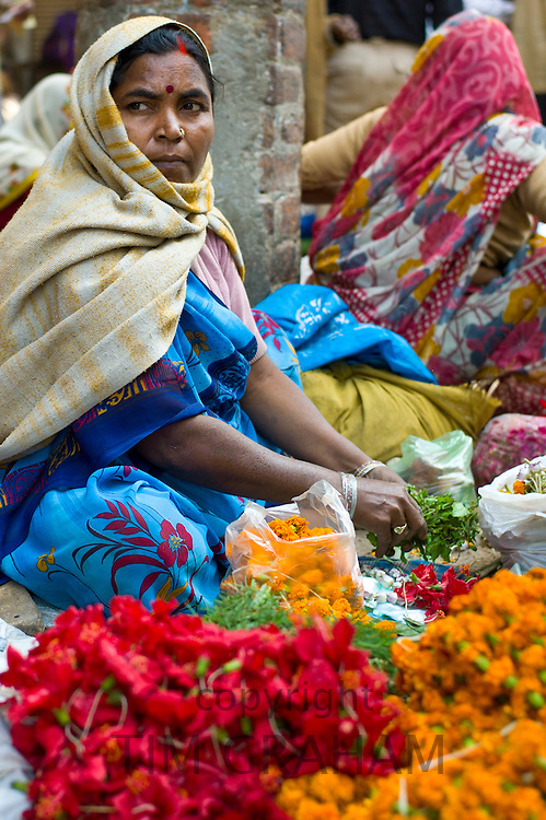 Woman sells flowers and herbs for temple offerings by The Golden Temple in Festival of Shivaratri in holy city of Varanasi, India