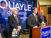 15 AUGUST 2012 - PHOENIX, AZ:    Sen. JOHN MCCAIN (left), Rep BEN QUAYLE and Sen JON KYL at a press conference Wednesday. Arizona's Republican US Senators, John McCain and Jon Kyl, announced their endorsement of Congressman Ben Quayle (R-AZ) during a press conference in Phoenix Wednesday. They decried the campaign being run by Quayle's opponent, Congressman David Schweikert (R-AZ). Both Quayle and Schweikert are freshman Congressmen from neighboring districts. They were thrown into the same district during the redistricting process and are now waging a bitter primary fight against each other.   PHOTO BY JACK KURTZ