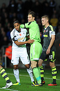 Swansea city's Ashley Williams tangles with Stoke keeper Asmir Begovic. Barclays Premier league, Swansea city v Stoke city at the Liberty Stadium in Swansea, South Wales on Sunday 10th November 2013. pic by Andrew Orchard, Andrew Orchard sports photography,