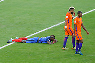 Paul POGBA (FRA) missed to score against Jasper CILLESSEN, he is on the floor, Georginio WIJNALDUM (NED), Tonny TRINDADE DE VILHENA (NED) during the FIFA World Cup Russia 2018, Qualifying Group A football match between France and Netherlands on August 31, 2017 at Stade de France in Saint-Denis, France - Photo Stephane Allaman / ProSportsImages / DPPI