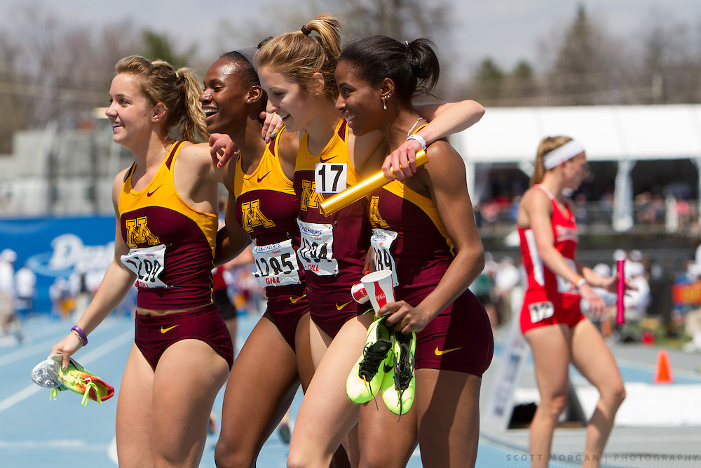Minnesota's Distance Medley Relay team celebrates their victory Saturday, April 27, 2013, during the Drake Relays in Des Moines..Photo by Scott Morgan 2013