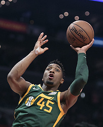 January 16, 2019 - Los Angeles, California, United States of America - Donovan Mitchell #45 of the Utah Jazz takes a shot during their NBA game with the Los Angeles Clippers on Wednesday January 16, 2019 at the Staples Center in Los Angeles, California. Clippers lose to Jazz, 129-109. JAVIER ROJAS/PI (Credit Image: © Prensa Internacional via ZUMA Wire)