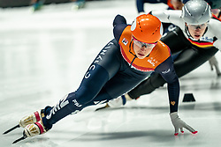 Suzanne Schulting of Netherlands in action on 1500 meter during ISU World Short Track speed skating Championships on March 06, 2021 in Dordrecht