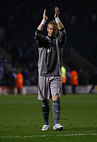 Photo: Steve Bond.<br /> Leicester City v Cardiff City. Coca Cola Championship. 26/11/2007. Kasper Schmeichel applauds the band of travelling fans