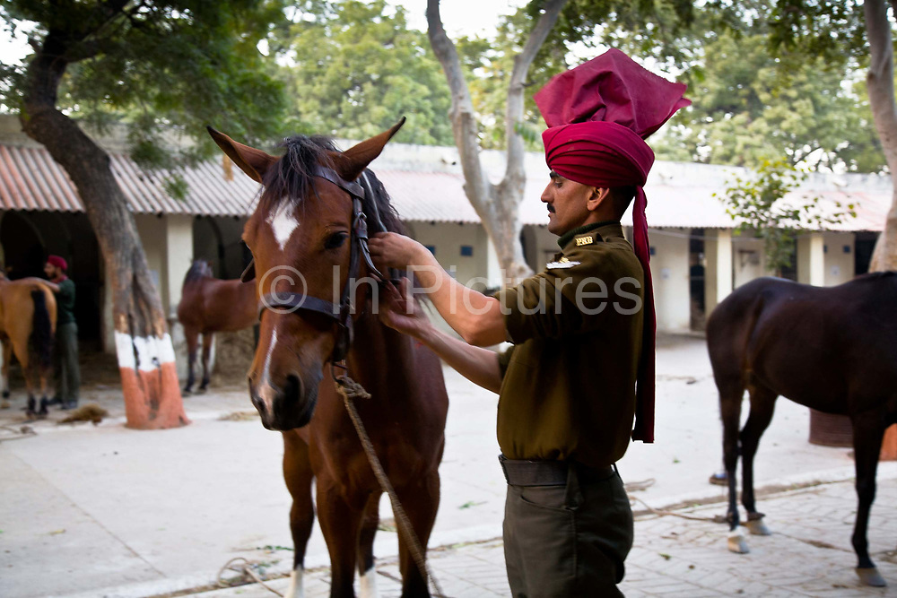 Lance Corporal Daffadar  Lal prepares his horse for morning activities at the Presidential Bodyguards HQ's, New Delhi. The  Presidential Bodyguard or PBG is the Indian Army's preeminent regiment founded in 1773 during the British occupation, this handpicked unit began with a mere 50 men and today stands at 160 soldiers plus 50 support staff. It has a dual role, both as a ceremonial guard for the President of India, with all its finery at important state functions, as well as an elite operational unit for the Indian Army which has seen action in many battle fronts, in particular the on going disputed region of Kashmir.