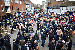 © Licensed to London News Pictures.  09/12/2014. AYLESBURY, UK. Thousands of fire fighters march through Aylesbury during the latest  nationwide strike of Fire Brigade Union members over pension rights. the union is also intending to take legal action over the dismissal of Ricky Matthews by the Buckinghamshire and Milton Keynes Fire Authority for taking part in pervious industry action. <br /> <br /> Photo credit: Cliff Hide/LNP